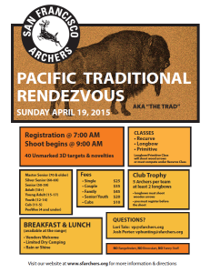The Pacific Traditional Rendezvous will be held on April 19th, 2015